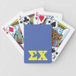 Letras del amarillo de la ji de la sigma baraja de cartas