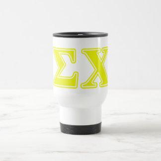 Letras del amarillo de la ji de la sigma taza térmica