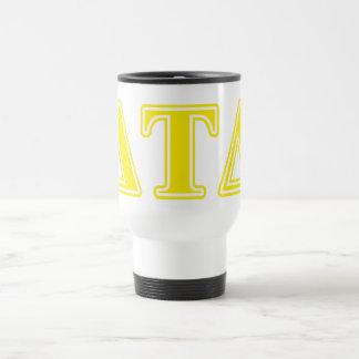 Letras del amarillo del delta del Tau del delta Tazas De Café