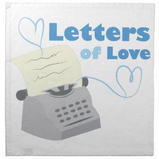 Letras del amor servilleta imprimida