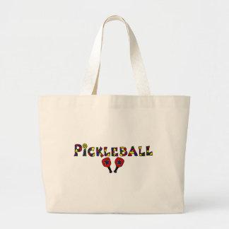 Letras del arte de Pickleball Bolsa De Tela Grande
