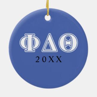 Letras del azul blanco y real de la theta del adorno navideño redondo de cerámica