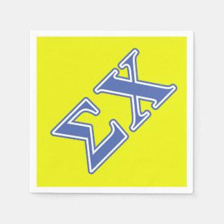 Letras del azul de la ji de la sigma servilleta desechable