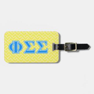 Letras del azul de la sigma de la sigma de la phi etiqueta de maleta