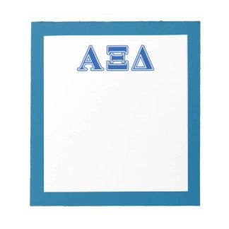 Letras del azul del delta de la alfa XI Blocs De Notas