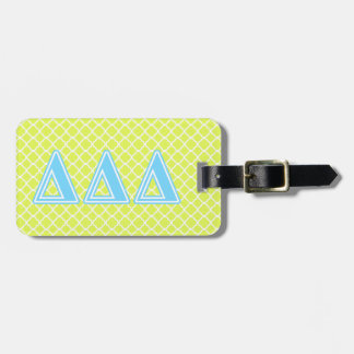 Letras del azul del delta del delta del delta etiqueta para maleta