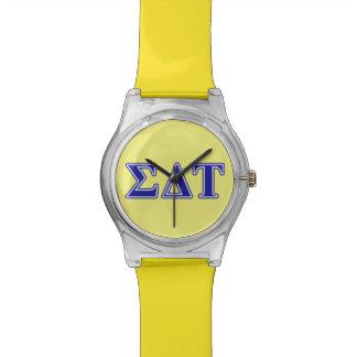 Letras del azul del Tau del delta de la sigma Reloj