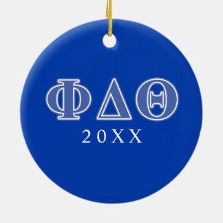 Letras del azul real de la theta del delta de la adorno navideño redondo de cerámica