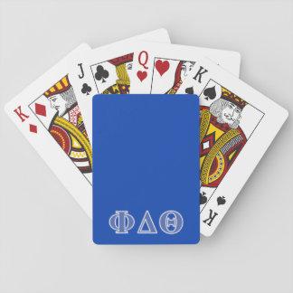 Letras del azul real de la theta del delta de la baraja de póquer