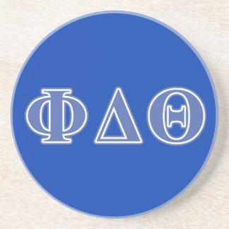 Letras del azul real de la theta del delta de la posavasos personalizados