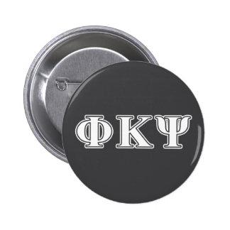 Letras del blanco de Kappa PSI de la phi Pin Redondo De 2 Pulgadas