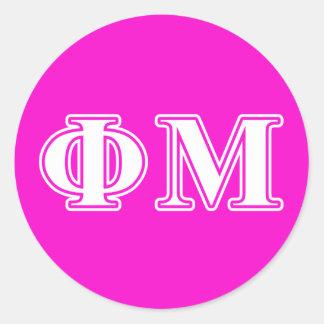 Letras del blanco de MU de la phi Pegatina Redonda