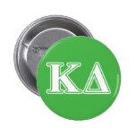 Letras del blanco del delta de Kappa Pin Redondo De 2 Pulgadas