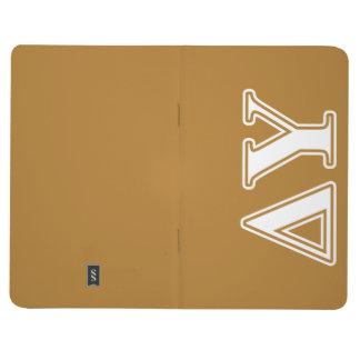 Letras del blanco y del oro de Upsilon del delta Cuadernos Grapados