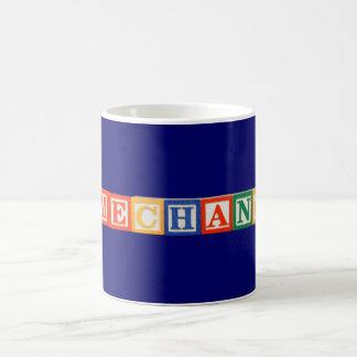 Letras del bloque hueco del cambiador del juego taza de café