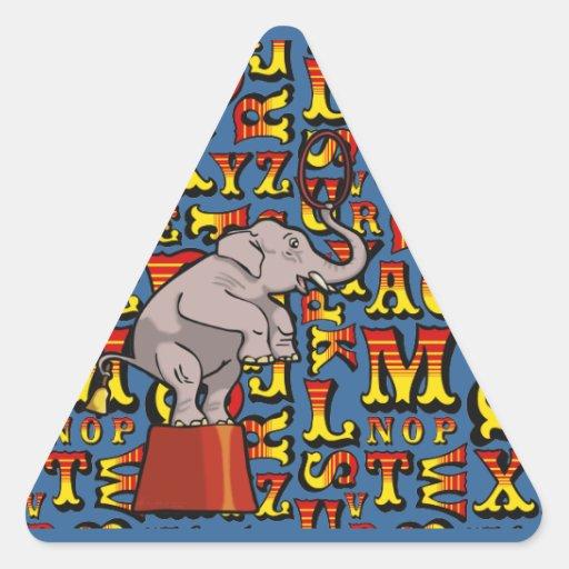 Letras del circo, pegatinas del triángulo calcomania de triangulo personalizadas