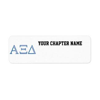 Letras del delta de la alfa XI Etiqueta De Remite