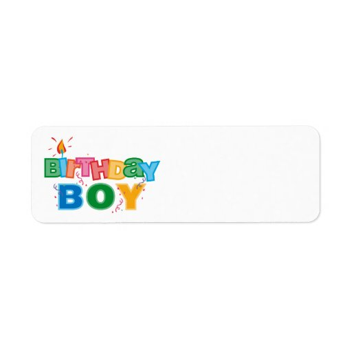 Letras del muchacho del cumpleaños etiquetas de remite