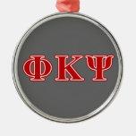 Letras del rojo de Kappa PSI de la phi Adorno Redondo Plateado