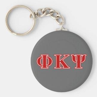 Letras del rojo de Kappa PSI de la phi Llavero Redondo Tipo Pin
