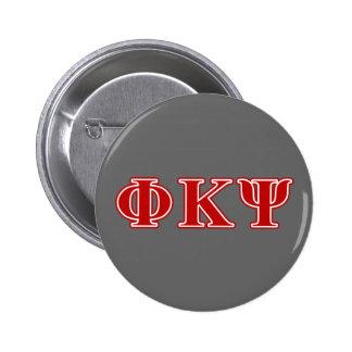 Letras del rojo de Kappa PSI de la phi Pin Redondo De 2 Pulgadas