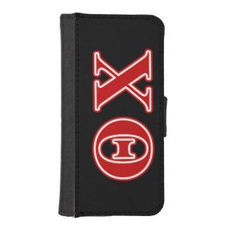 Letras del rojo de la ji de la theta fundas tipo billetera para iPhone 5