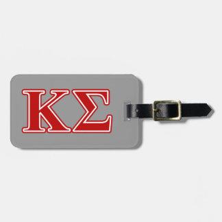 Letras del rojo de la sigma de Kappa Etiquetas Para Equipaje