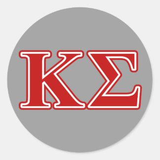 Letras del rojo de la sigma de Kappa Etiquetas Redondas