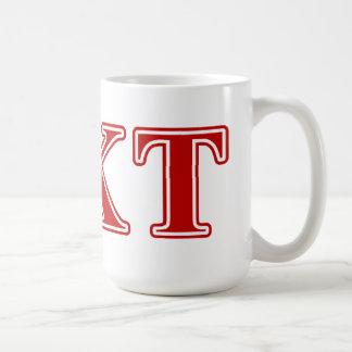 Letras del rojo del Tau de Kappa de la phi Tazas De Café