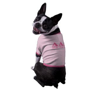Letras del rosa del delta del delta del delta camiseta con mangas para perro