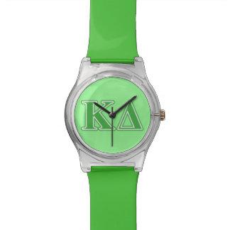 Letras del verde del delta de Kappa Reloj De Mano