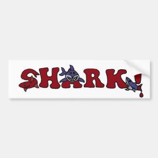 Letras divertidas del tiburón con arte de los pegatina de parachoque
