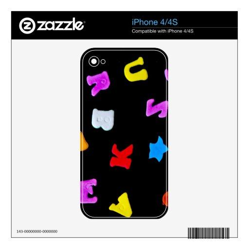 Letras en negro iPhone 4 calcomanías