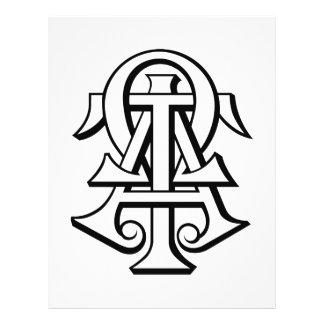 Letras entrelazadas Omega del Tau de la alfa Tarjetas Informativas