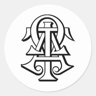 Letras entrelazadas Omega del Tau de la alfa Pegatina Redonda