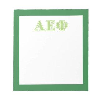 Letras épsilones alfa del verde de la phi bloc de papel