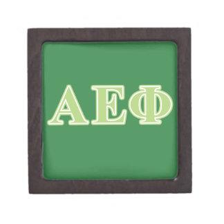 Letras épsilones alfa del verde de la phi caja de regalo de calidad