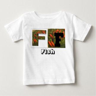 Letras - F - pescados, pescados Playera De Bebé