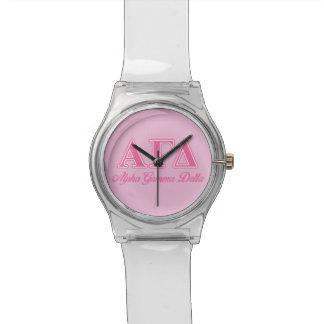 Letras gammas alfa del rosa del delta relojes