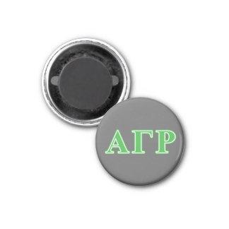 Letras gammas alfa del verde de rho imán redondo 3 cm