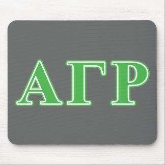 Letras gammas alfa del verde de rho alfombrillas de ratón
