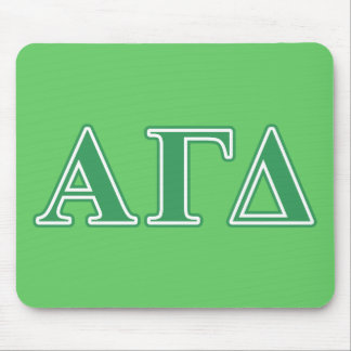 Letras gammas alfa del verde del delta alfombrillas de ratones