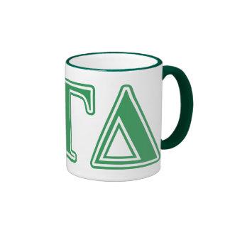 Letras gammas alfa del verde del delta taza a dos colores