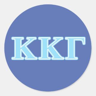 Letras gammas de los azules cielos de Kappa Kappa Pegatina Redonda