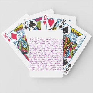 Letras manuscritas de la tolerancia asombrosa barajas de cartas