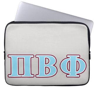 Letras marrón y azules de la phi beta del pi fundas ordendadores