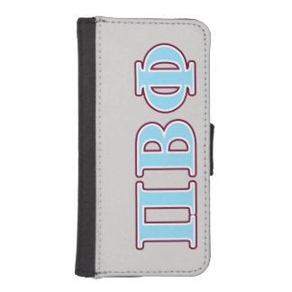 Letras marrón y azules de la phi beta del pi funda tipo cartera para iPhone 5