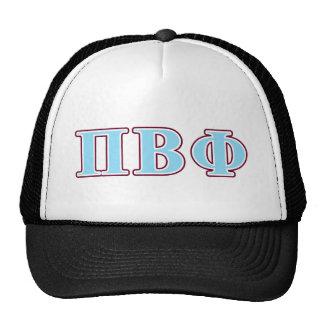 Letras marrón y azules de la phi beta del pi gorras