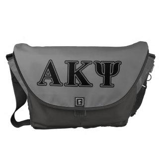 Letras negras alfa de Kappa PSI Bolsa Messenger