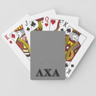 Letras negras alfa de la ji de la lambda baraja de póquer